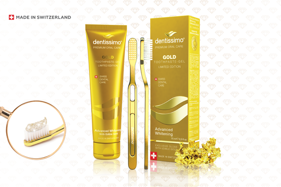 Swiss DENTISSIMO Advanced Whitening GOLD toothpaste-gel